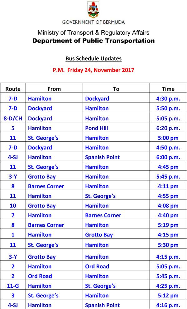 Bus Schedule Updates Friday 24-11-2017-2