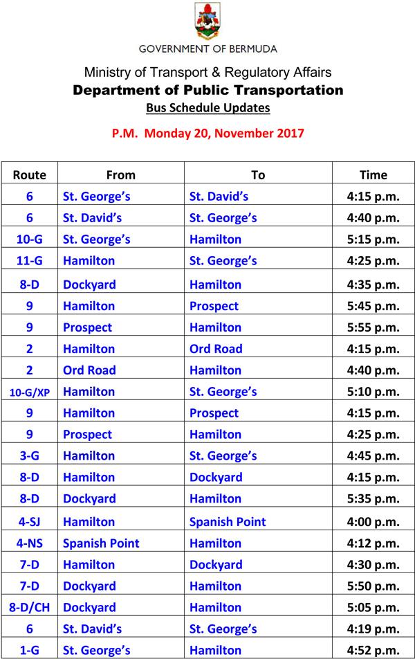 Bus Schedule Updates Monday 20-11-2017-1