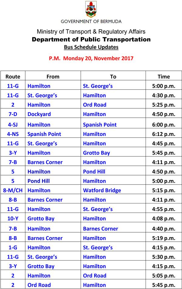 Bus Schedule Updates Monday 20-11-2017-2