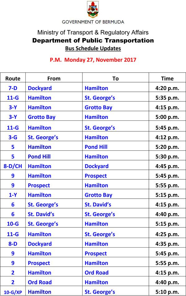 Bus Schedule Updates Monday 27-11-2017-1