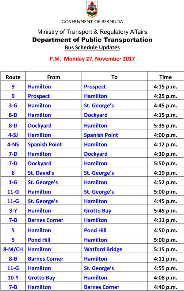 Bus Schedule Updates Monday 27-11-2017-2