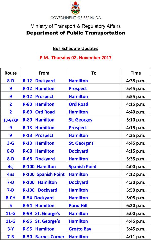 Bus Schedule Updates Thursday 02 November-2017-1