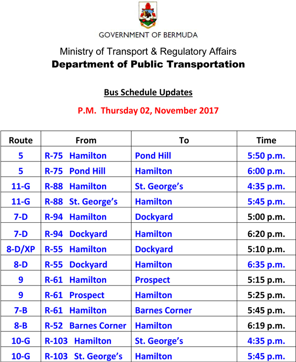 Bus Schedule Updates Thursday 02 November-2017-3