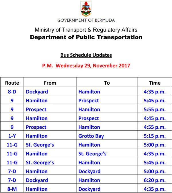 Bus Schedule Updates Wednesday 29 November 2017