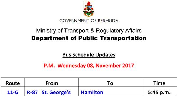 Bus Schedule Updates Wednesday 8 November 2017-2