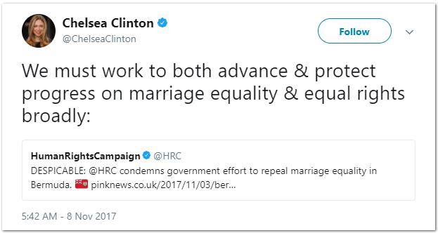 Chelsea Clinton tweet Bermuda Nov 8 2017