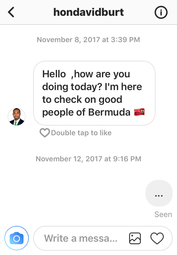 Fake Burt profile November 2017