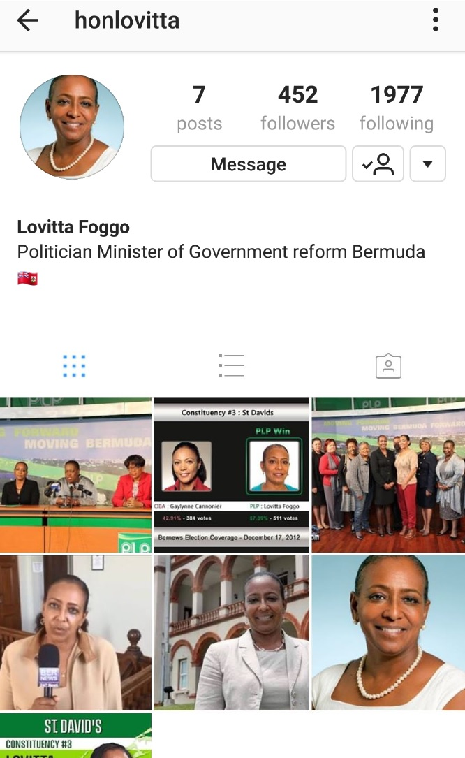 Fake social media accounts Bermuda Nov 2017