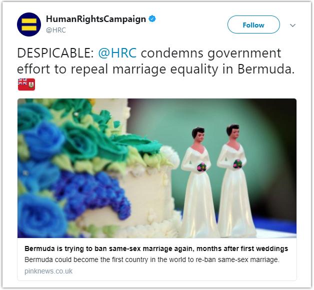 HRC tweet Bermuda Nov 8 2017