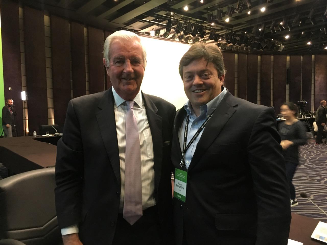 Patrick Singleton, IOC AC member on the WADA Foundation Board with WADA's President Sir Craig Reedie