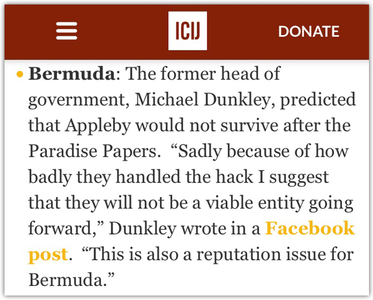 Michael Dunkley On Paradise Papers Bermuda Nov 9 2017