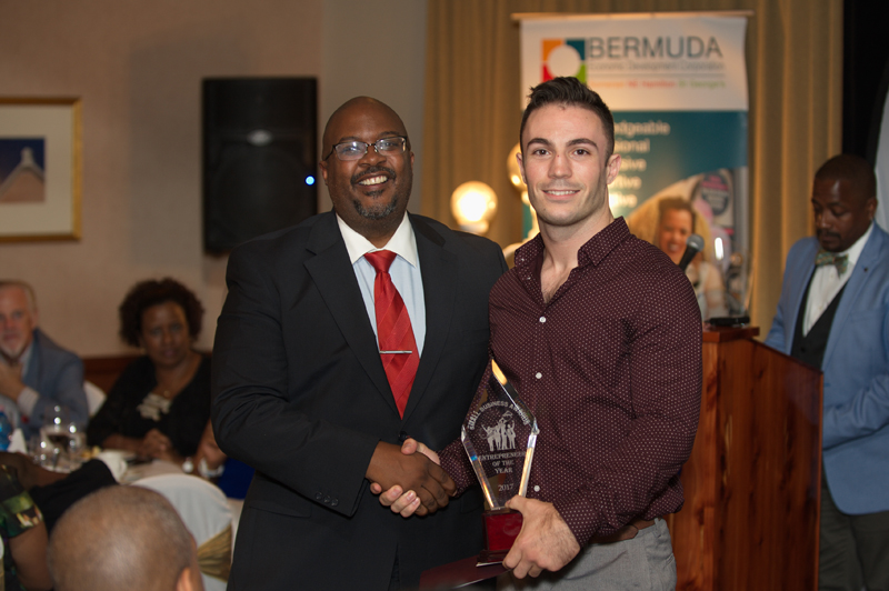 Minister Simmons congratulating Mark Prior Bermuda Nov 28 2017