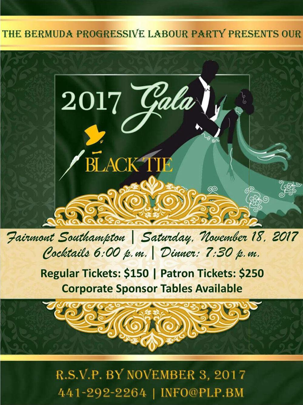 PLP Black Tie Gala Bermuda Nov 3 2017