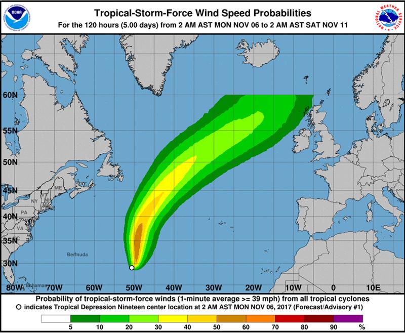 Tropical Depression Nineteen Bermuda Nov 6 2017 2
