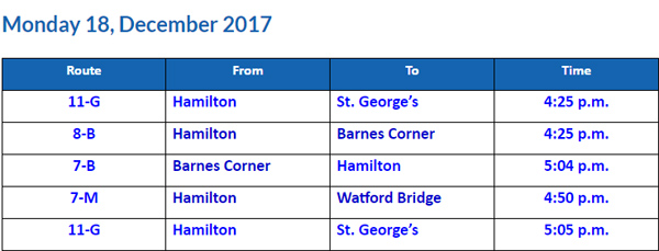 Bus Cancellations PM Dec 18 2017