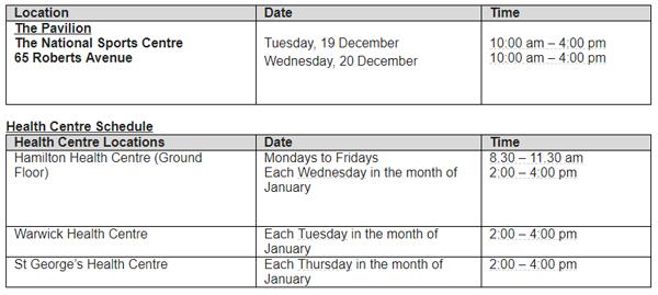 Flu Express Schedule Dec 18 2017