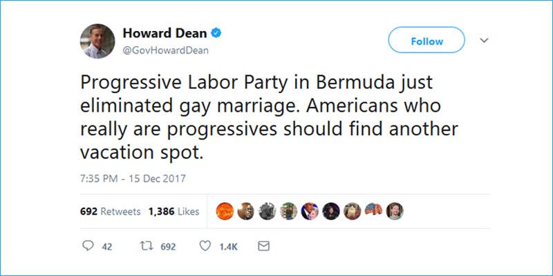 Howard Dean tweet Boycott Bermuda