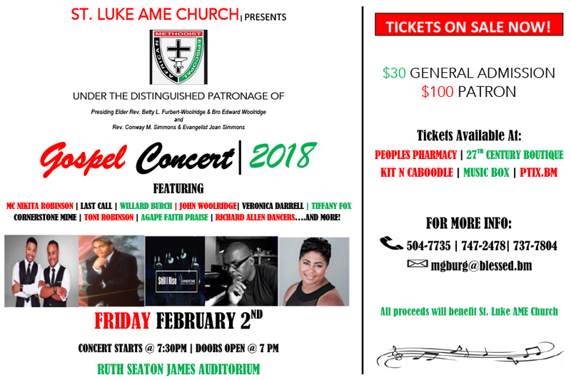 St Luke AME Church Gospel Concert Bermuda Jan 2018