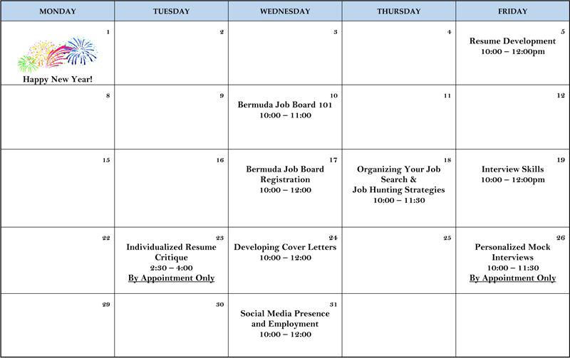 Training Calendar Bermuda Jan 2018