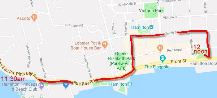 Motorcade route Bermuda April 2018