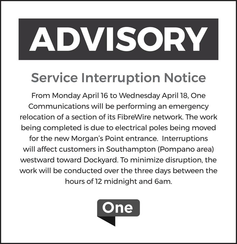 One Service Interruption Notice Bermuda April 2018
