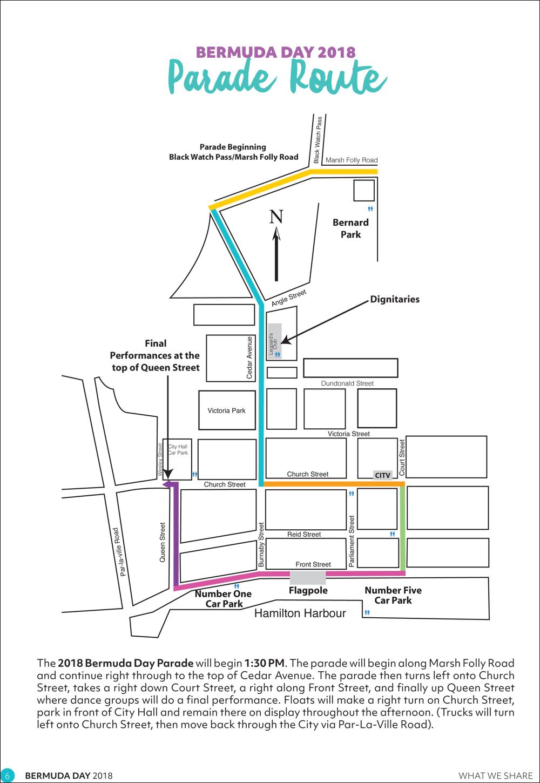Bermuda Day Parade Map Bermuda May 25 2018