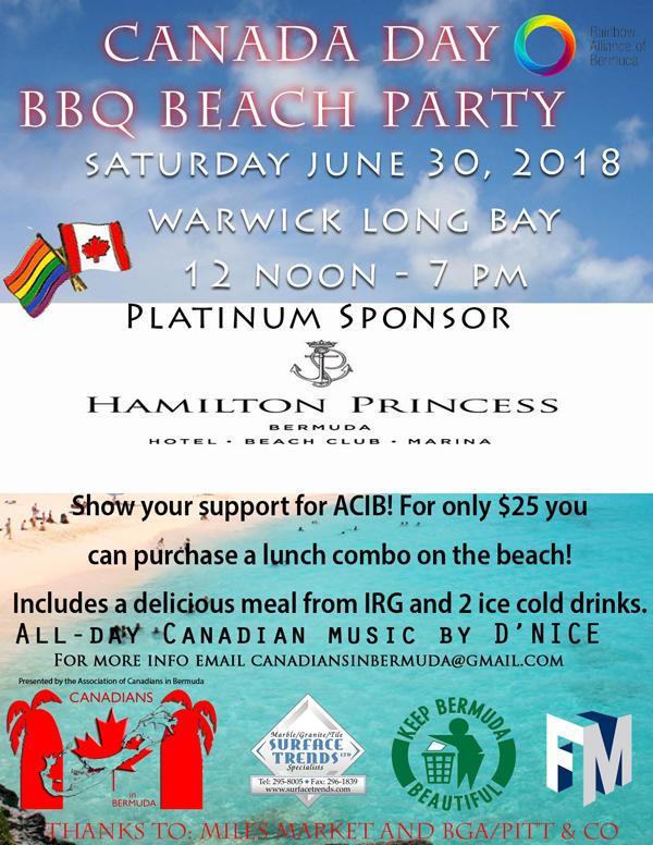 Canada Day Beach BBQ Bermuda June 2018