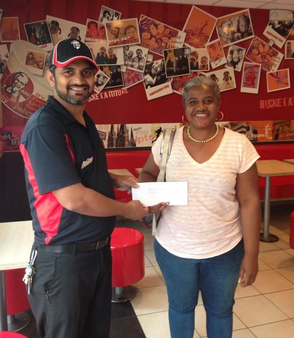 KFC Supervisor Yadav with Sheena William Bermuda June 2018