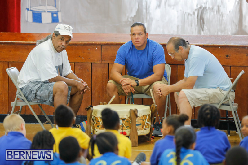 Pow Wow Native Drummers Visit St David's Primary School Bermuda, June 8 2018-9811