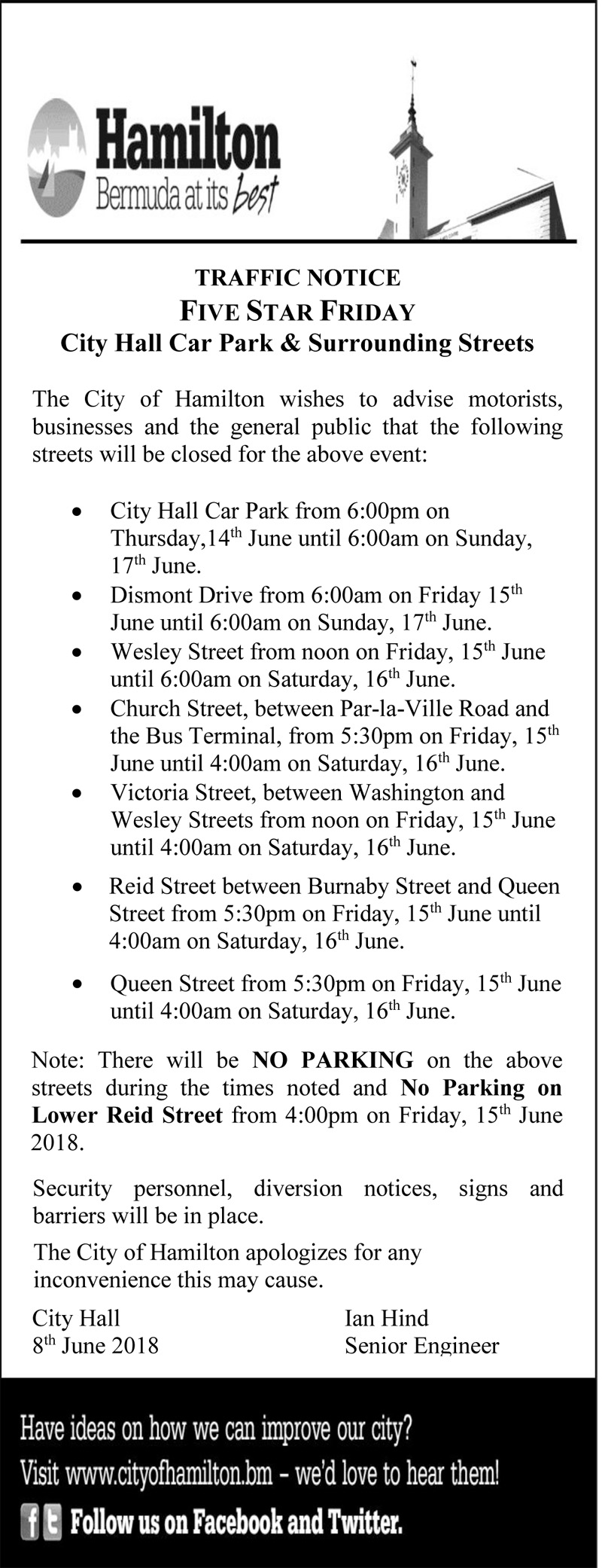 Traffic Notice Bermuda June 13 2018