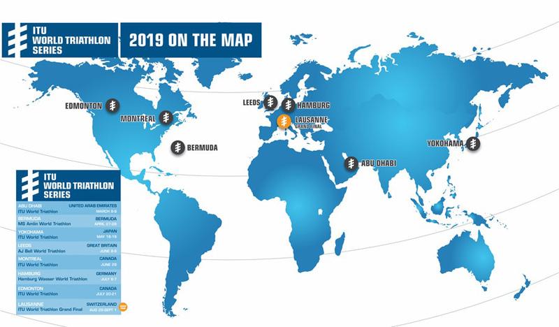 2019 ITU World Triathlon Series Map July 2018