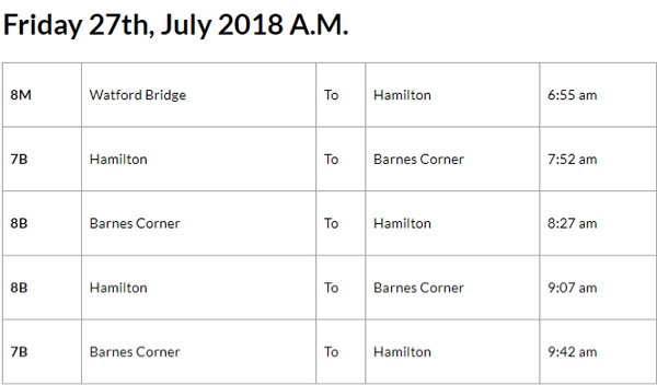 Bus Cancellations AM July 27 2018