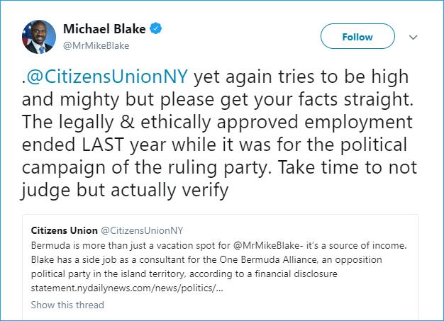 Mr Mike Blake twitter Bermuda July 13 2018