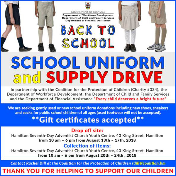 School Supply Drive Bermuda July 2018