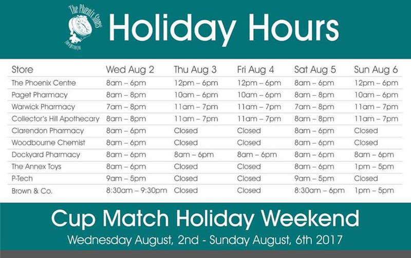 The Phoenix Stores Cup Match Holiday Weekend Holiday Hours August 2 2017