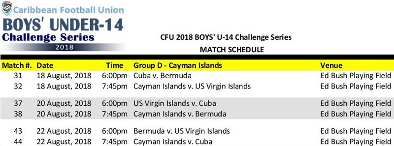 CFU Boys U14 Match Schedule August 2018