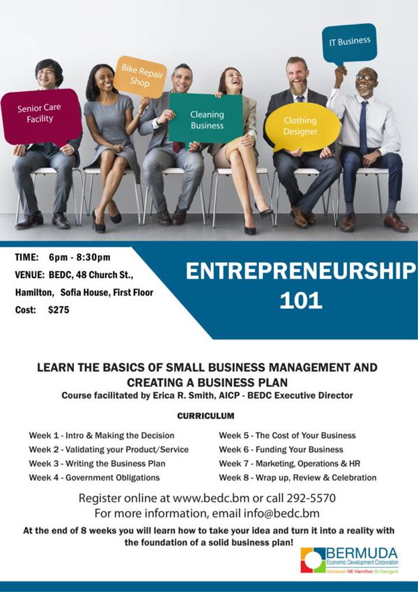 Entrepreneurship 101 Bermuda August 2018