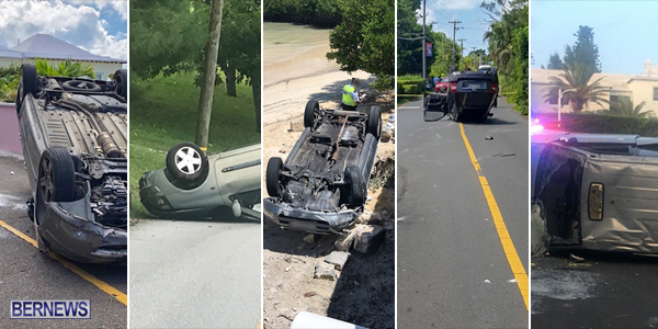 car overturn TC Bermuda August 5 2018