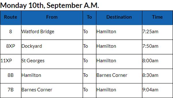 Bus Cancellations AM Bermuda Sept 10 2018