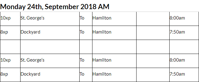 Bus Cancellations AM Bermuda Sept 24 2018