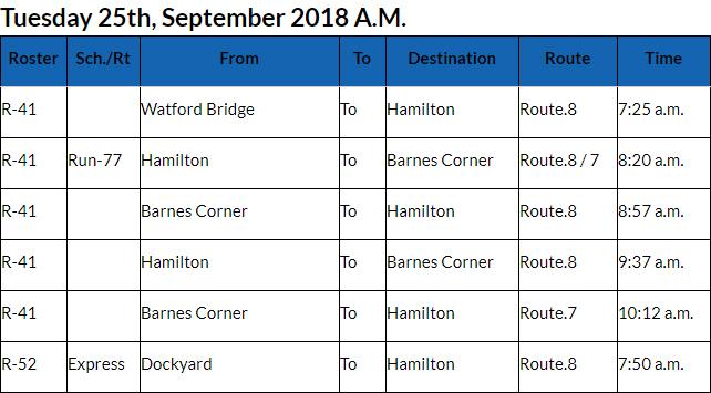 Bus Cancellations AM Bermuda Sept 25 2018