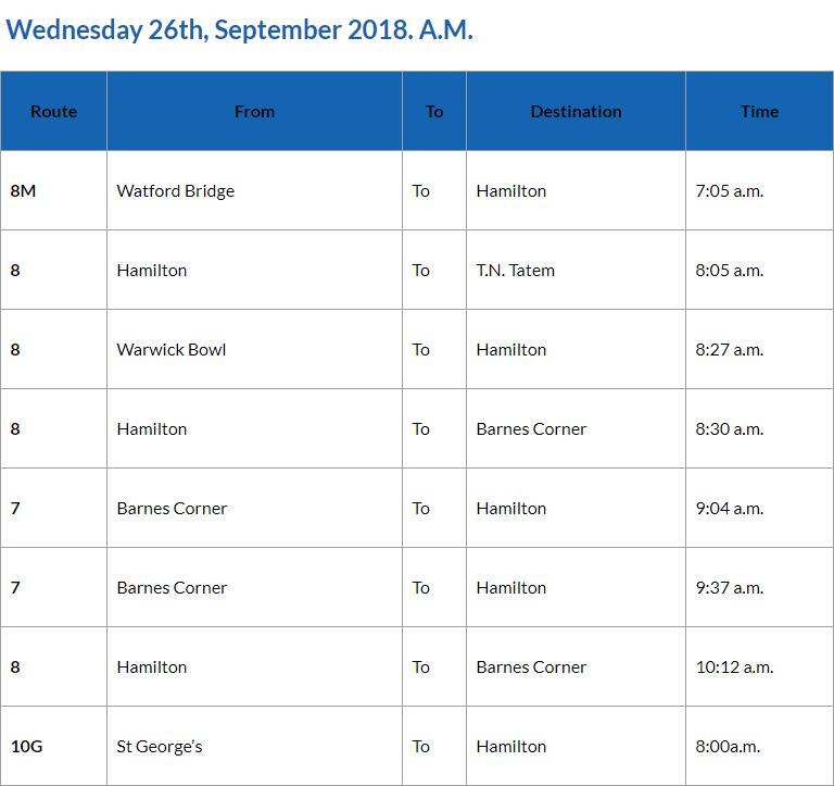 Bus Cancellations AM Bermuda Sept 26 2018 2
