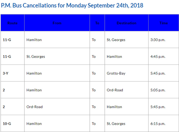 Bus Cancellations PM September 24 2018