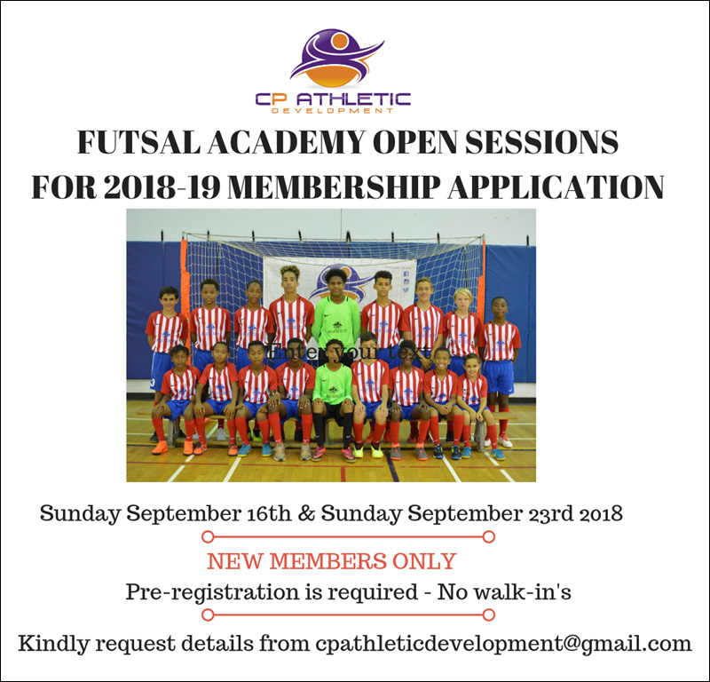 CPAD Academy Futsal Open Sessions Bermuda Sept 2018