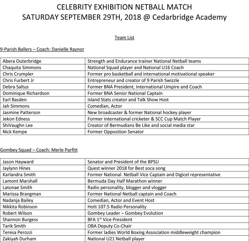 Celebrity Netball Team List Bermuda Sept 27 2018