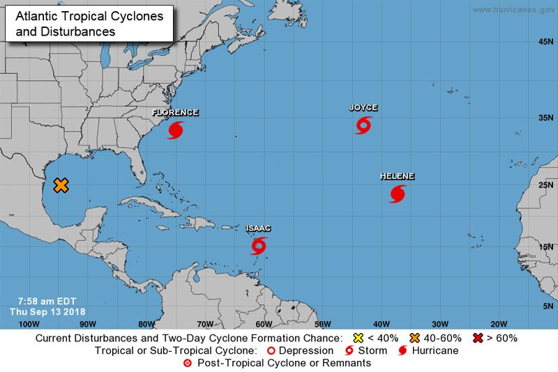 NHC Atlantic Tropical Cyclones and Disturbances Sept 2018
