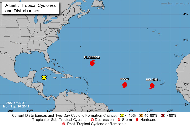 NHC Hurricane Florence, Helene and Isaac September 2018