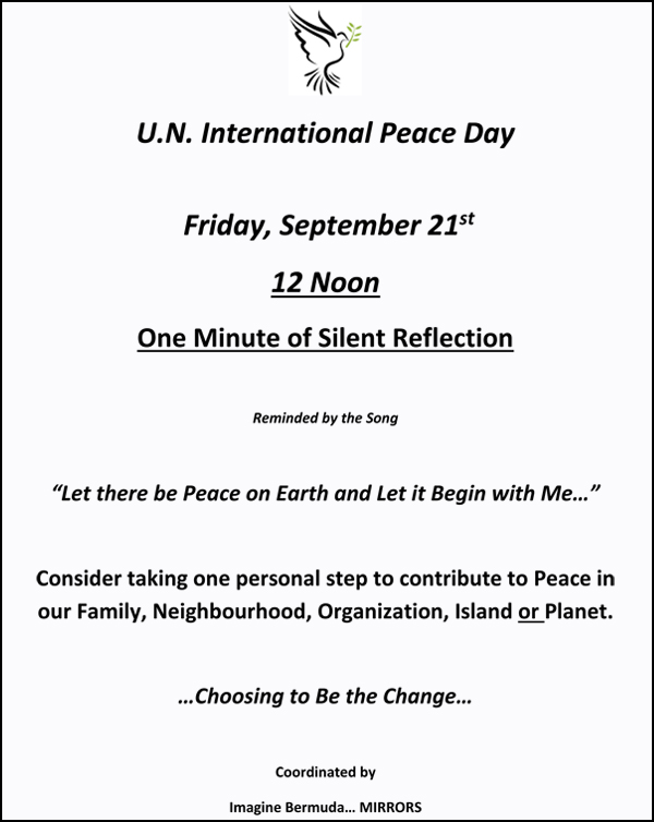 Peace Day Flyer Bermuda Sept 19 2018