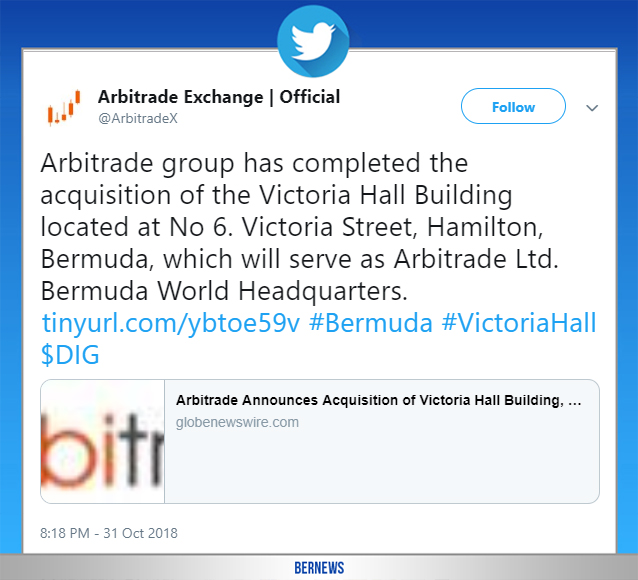 Arbitrade tweet Bermuda Oct 31 2018