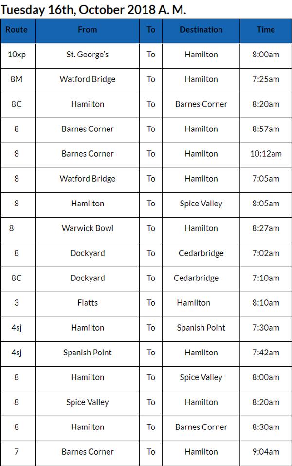 Bus Cancellations Bermuda Oct 16 2018 AM